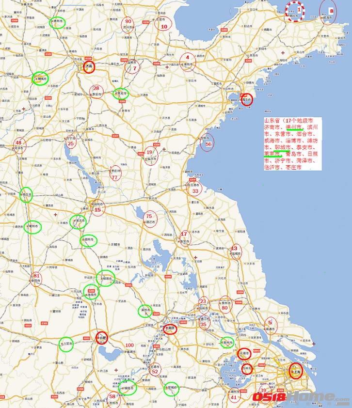 2011中国三四线城房地产发展潜力100强连云港周围分布