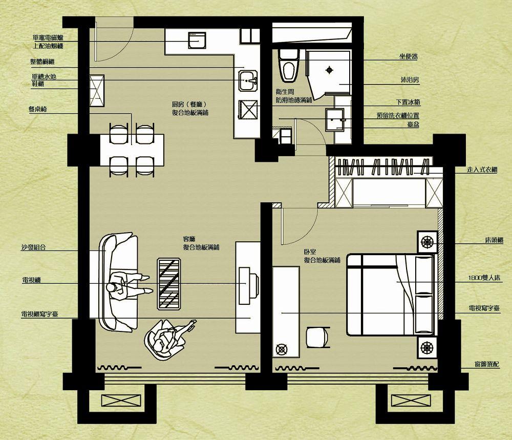 龙禧·深蓝公寓1号户型:约142平方米三室两厅两卫 网